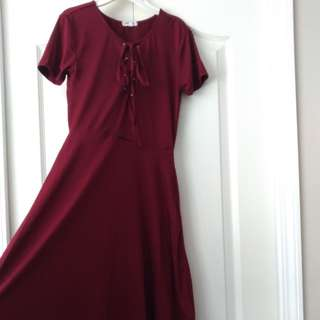 Maroon swing stretchy dress