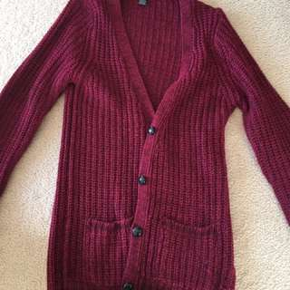 Burgundy knit long cardigan