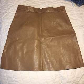Brown leather skirt from Dynamite