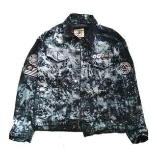 Jaket denim black splash
