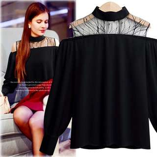 Mesh Collar Cold Shoulder Monochrome Tops up to 5XL