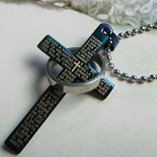 Unisex Stainless Steel Cross Pendant with Beaded Necklace
