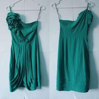EVENTS - XS Green Aqua Shoulder Floral Cocktail Dress