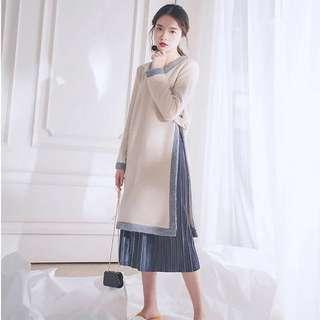 長版針織毛衣百褶長裙兩件式套裝