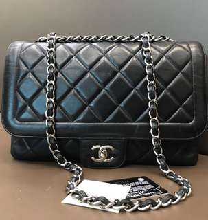 Chanel Jumbo Black Lambskin Mademoiselle SHW #14 with holo card booklet db box