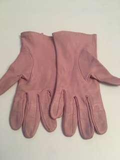 Vintage leather gloves dusty rose pink