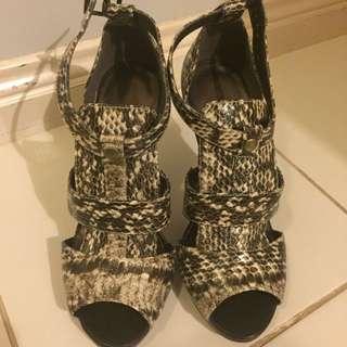 Ladies brown print high heel shoes