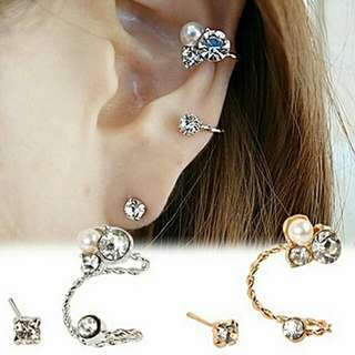 Rhinestone Earrings Stud Ear Clip Jewellery
