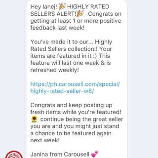 2ND TIME HIGHLY-RATED SELLER! Thanks, Carousell!!!
