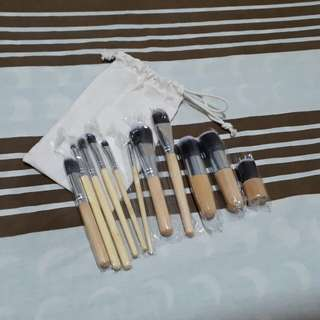 11 pcs. Bamboo Brushes w/ pouch