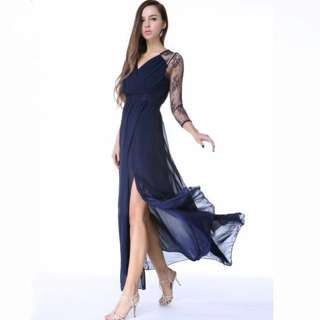 Evening Gown Dress Chiffon Lace; formal occasion wedding work dinner; Long Sleeve translucent blue ball; woman women female lady ladies; elegant classy stylish high class
