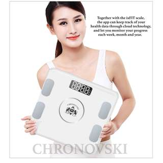 [FREE Delivery] 9 in One Smart Bluetooth Fat Analyser BMI Weighing Body Scale Android iOS Technology Body Weight Scales