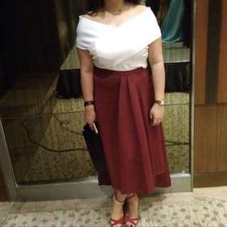 Karimadon White Top and Maroon Skirt