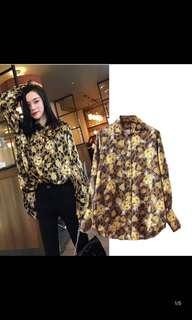 Female fashion leopard long-sleeved lapel print shirt