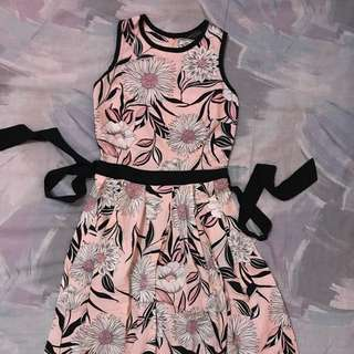 Dorothy Perkins K&D Pink Floral Pleated Summer Sun Dress