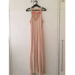 BN Beige Maxi Dress with Neck Accent perfect for Beach FS