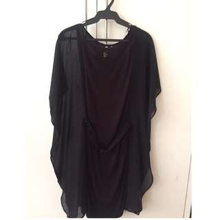 H&M Black Dress with Sheer Wing Sleeves Size S
