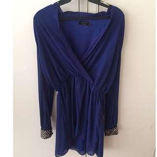 Ezra Royal Blue Long Sleeved Royal Blue Short Dress with Cuff Details M