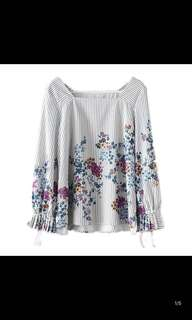 European and American style flower printing collar collar tie hedging loose shirt