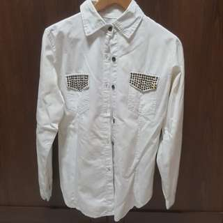 [CLEARANCE] Which washed Denim - like Cotton Shirt