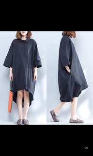 Ladies Plus Size new irregular short long after the increase of loose shirt black long section over belly blouse