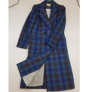 🚚 【物超所值】藍色格子長版毛料外套