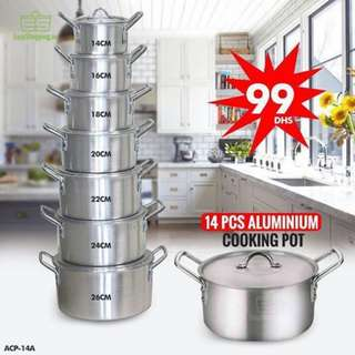 14 Pcs Aluminum Casserole Stock Pot