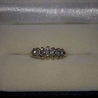 Marquise Diamond ring size 8 in 14k yellow gold