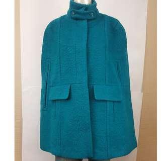 割愛款孔雀藍披肩毛料外套