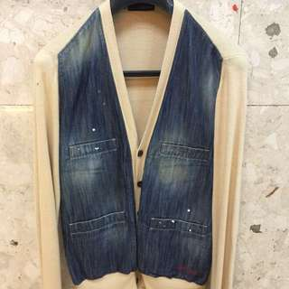 Dsquared Men's denim and knit cardigan