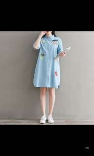 Embroidered denim shirt dress fresh and loose large size in the long paragraph was thin dress female