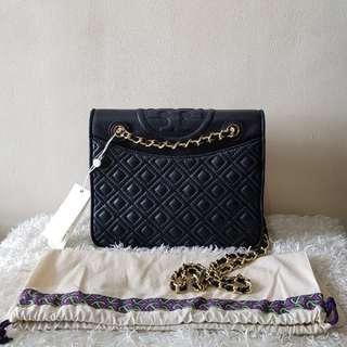 Authentic Tory Burch Fleming Medium Shoulder Crossbody Bag, Navy Blue