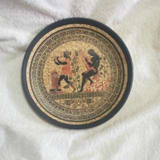 Apollo & The Flute Player - Vintage Handmade Greek Gods Clay / Terracotta Plate