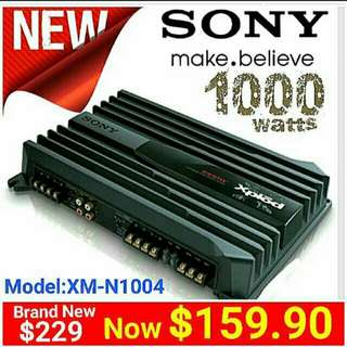 Car Amplifier Sony 1000watts Max.  4/3/2 channels Bridgeable. 70Wx4 Rated Power.. (Model: XM-N1004)  Usual Price: $229.Special Offer:$ 159.90