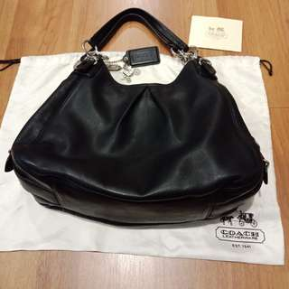 Original Coach.  Black Leather Shoulder Bag