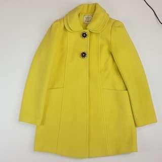 🚚 【物超所值】高檔釘珠釦毛料黃色外套