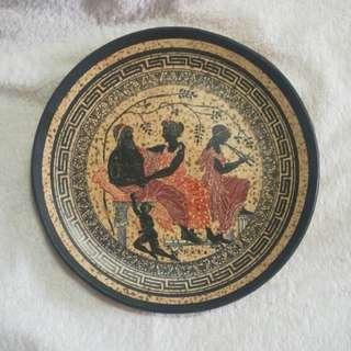 Zues & Hera - Vintage Handmade Greek Gods Clay / Terracotta Plate