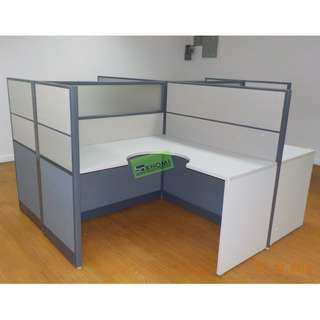 L TYPE WORKSTATION W PARTITION (fabric W glass) & MOBILE PED