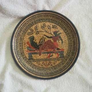 Semele & Hermes - Vintage Handmade Greek Gods Clay / Terracotta Plate