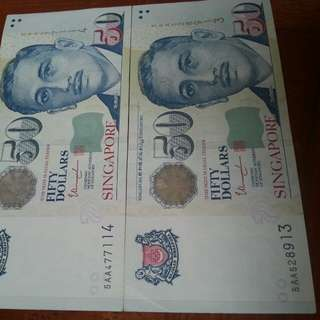 5AA prefix, protrait $50 note 2pcs.