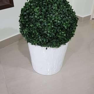 Flower Pot with plastic grass ball