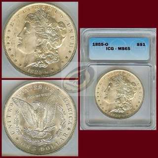 1885-O United States Morgan Dollar - ICG MS65
