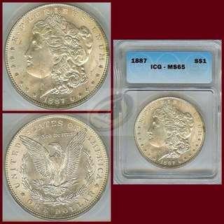 1887 United States Morgan Dollar - ICG MS65