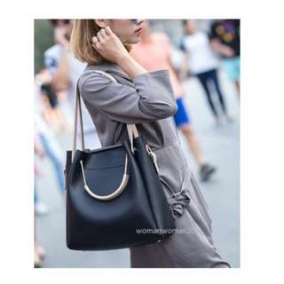 Leather Tote Bag (black/grey available)