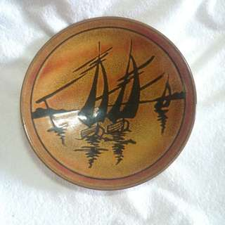 Vintage Poole Pottery Aegean Ship Plate / Shallow Dish