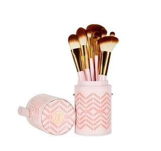 BH cosmetics - pink perfection 10 pc brush set with carrying case