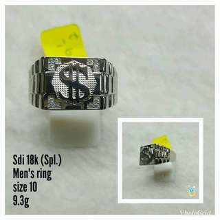 WHITE GOLD DOLLAR 18K SAUDI GOLD SPL MEN'S RING