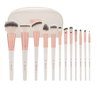 BH cosmetics rose romance - 12 piece brush set with cosmetic bag