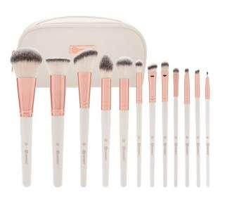BH cosmetics rose romance - 12 piece brush set with cosmetic bag