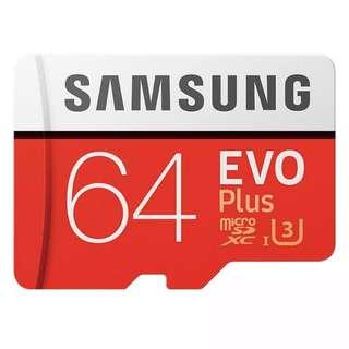 Samsung EVO Plus Micro SDHC USH-1 U3 64GB Class10 FHD 100M/S - Red